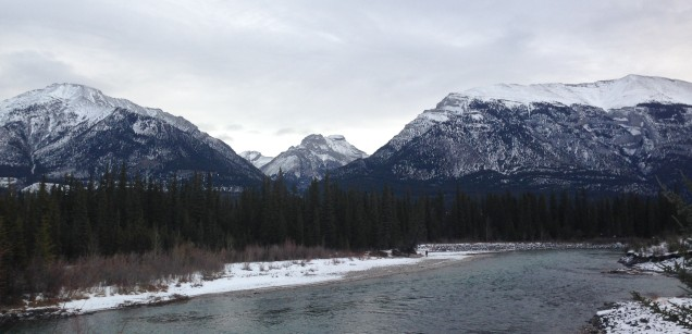 Mount Macdonald to the left and Grotto Mountain on the right, with the Bow River in the foreground.