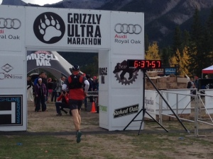 Finishing the Grizzly. A truly awesome experience. Photo courtesy of Lisa Oldring, Canmore