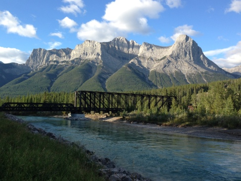 The Old Railway Bride, over the Bow River with Mount Lawrence Grassi in the background.