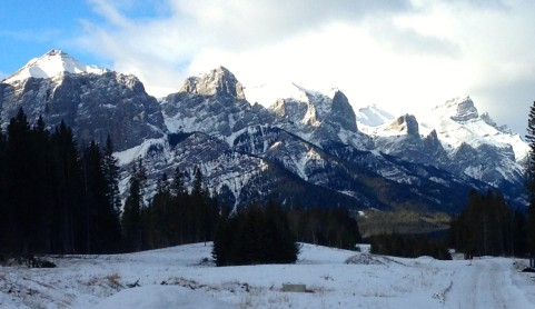 Rundle Mountain from the Powerline trail.